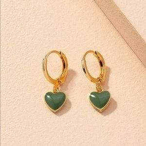 New Adoring Green Drop Heart Design Earrings
